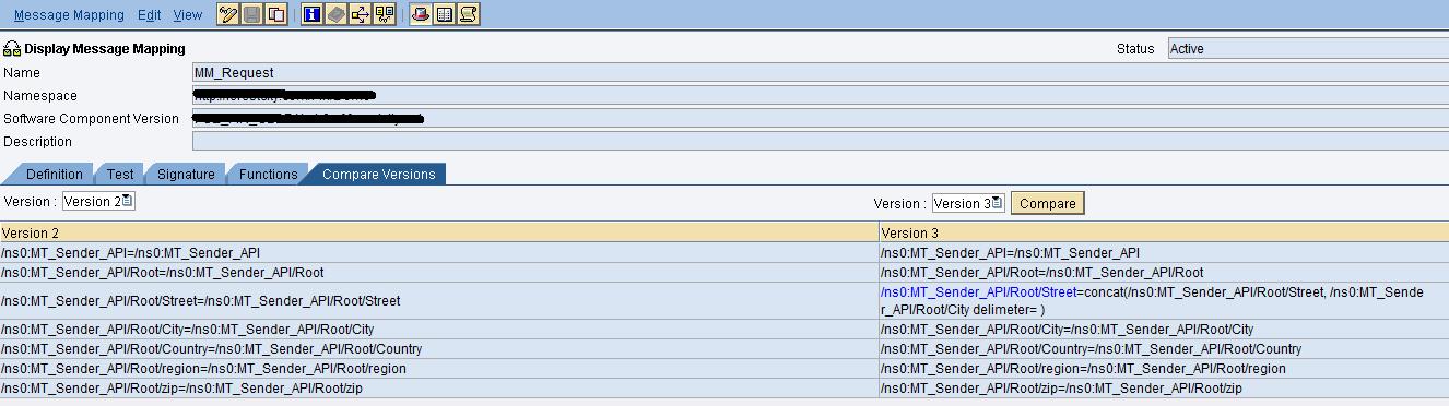 Compare mapping Version in SAP PI